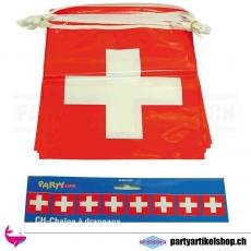 Plastikfahnenkette mit schweizer Fahnen - wetterfest