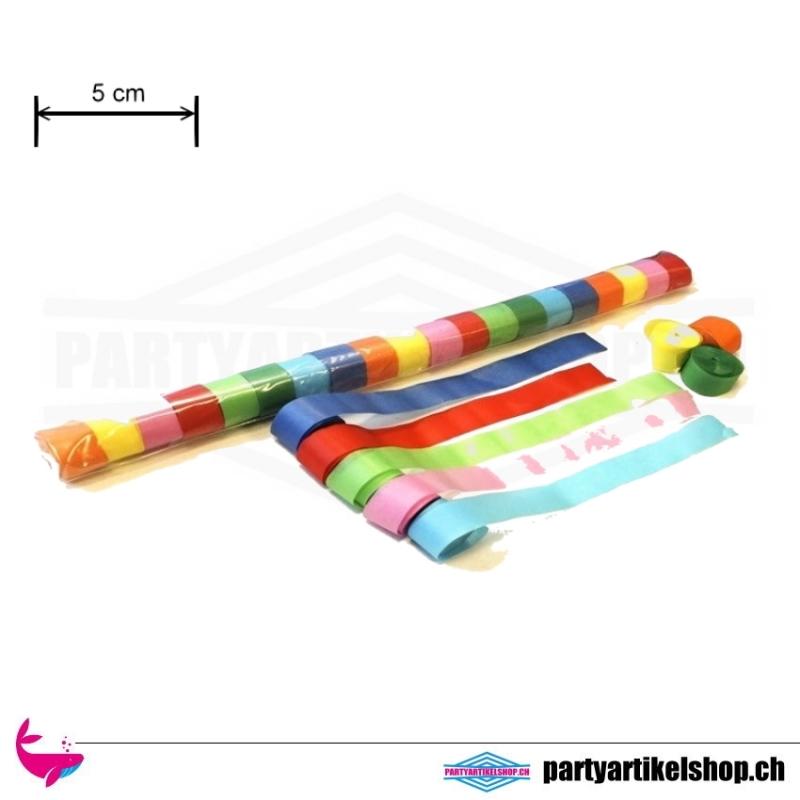 Papier Luftschlangen (Streamer) - breite Ausführung 5cm x 20 Mtr. Bunt