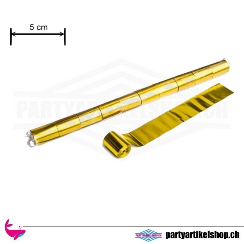 Metallic Luftschlangen breit - 5cm x 20 Mtr. Gold