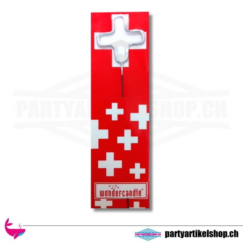 Wunderkerze in Form des schweizer Kreuzes