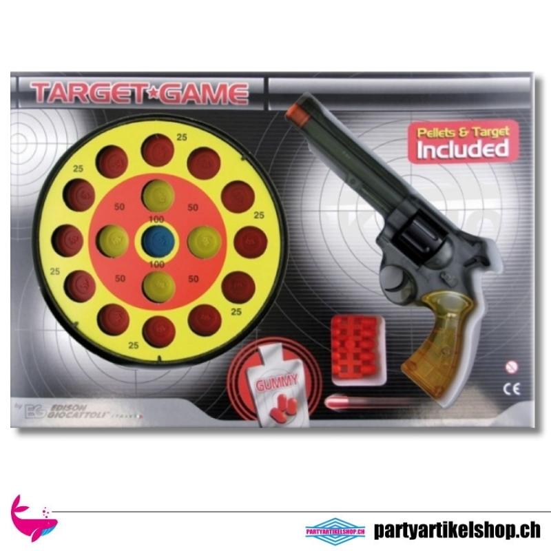Target Game - Schiessspiel mit Zielscheibe, Colt und Gummi-Munition