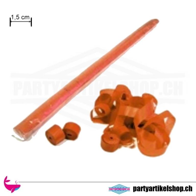 Luftschlangen - schmale Ausführung 1,5cm x 5 Mtr.  - aus Papier Orange