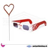 Herzbrille und Wunderkerze im Set
