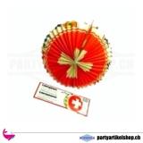 Papier Lampion oval mit schweizer Kreuz