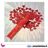 Konfettishooter *Herzregen* - rote Konfettiherzen - 30 cm